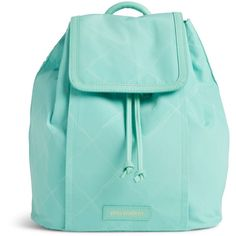 Vera Bradley Preppy Poly Backpack in Mint ($98) ❤ liked on Polyvore featuring bags, backpacks, purses, accessories, mint, draw string bag, blue drawstring backpack, mint green backpack, vera bradley and lightweight rucksack