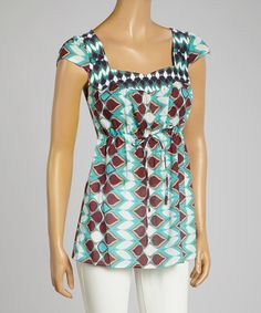 Look at this Aryeh Moss & Red Abstract Empire Waist Top on #zulily today!