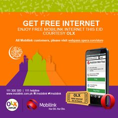 Great news for all Mobilink customers. Now get free Mobilink internet this Eid courtesy OLX.