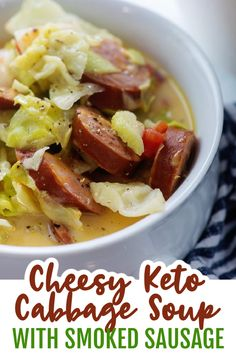 This keto cabbage soup is loaded with sliced smoked sausage, diced tomatoes, and cabbage, all in a cheesy, comforting soup! This recipe is perfect for chilly nights. #ketosoup #lowcarbsoup Cabbage Soup Recipes, Cabbage Soup Diet, Ketogenic Recipes, Diet Recipes, Healthy Recipes, Fruit Recipes, Cabbage And Sausage, Keto Soup, Seafood