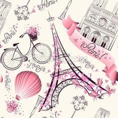 Illustration of Paris symbols seamless pattern. Romantic travel in Paris. Vector vector art, clipart and stock vectors. Vintage Paris, Paris Amor, Thema Paris, Illustration Parisienne, Paris Kunst, Art Parisien, Decoupage, I Love Paris, Paris Eiffel Tower