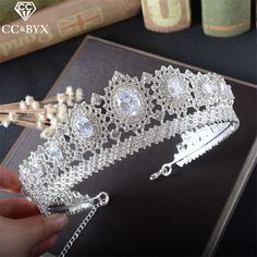 CC Jewelry crown and tiara queen luxury wedding hair accessories for women crowns for beauty hair brides jewellery gift HG771 #Affiliate