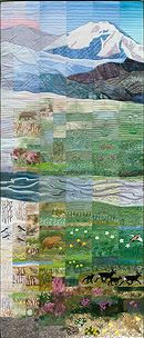 Seasons Of Denali--Left Panel. One of four panels. Amazing quilt incorporating all hand dyed fabrics, stencilling, silk screen printing etc. Site includes link to another site which has an interview with the artist, showing some of her techniques.