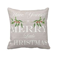 Holiday Pillow Merry Little Christmas Holly Cotton and Burlap Pillow Cover