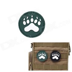 MK Round Dog Footprints Tactical Velcro Sticker Backpack Armband - Green (S) Price: $2.58
