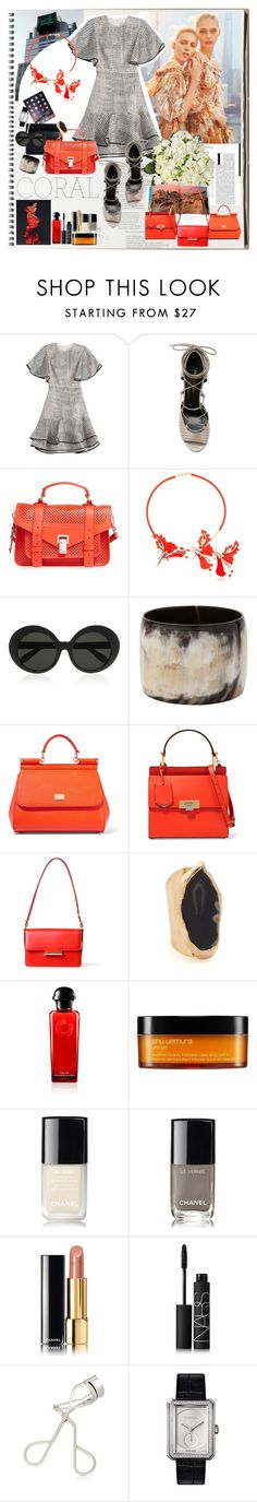 """""""Color Cure: Coral"""" by ccclem ❤ liked on Polyvore featuring Anja, Jason Wu, Yves Saint Laurent, Proenza Schouler, Ek Thongprasert, Linda Farrow, Nest, Assouline Publishing, Dolce&Gabbana and Balenciaga"""