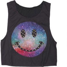 Galaxy Smiley with Studs Tank (82 BRL) ❤ liked on Polyvore featuring tops, shirts, tank tops, crop tops, nebula shirt, shirt top, galaxy print crop top, galaxy tank and studded shirt