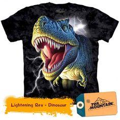 Tričko Tyranosaurus rex s blesky Kids Shirts, Tee Shirts, Funny Shirts, Dinosaur Shirt, Big Face, Black Lightning, Mountain Man, T Rex, Dinosaurs