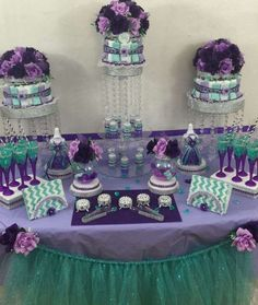 Purple and teal Little Mermaid baby shower party! See more party ideas at http://CatchMyParty.com!