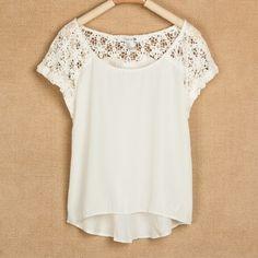 Stitching lace chiffon shirt