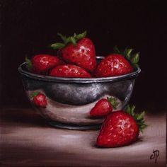 Strawberries in Silver, J Palmer Daily painting Original oil still life Art