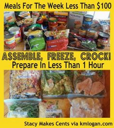 Crock Pot Freezer Cooking Tutorial: 6 Meals in 1 Hour - Crockpot Recipes Slow Cooker Freezer Meals, Make Ahead Freezer Meals, Crock Pot Freezer, Crock Pot Slow Cooker, Freezer Cooking, Crock Pot Cooking, Slow Cooker Recipes, Cooking Recipes, Freezer Recipes