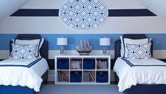 Morgan Harrison Home - boy's rooms - Ikea Expedit Shelving Unit, shared kids room, shared boys room, shared boys bedroom, striped walls, str...