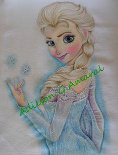 Pintura em tecido | bonecas | Elsa | frozen