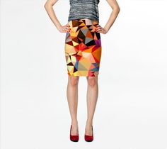 Orange Geometric Skirt, Fitted Skirt, Modern Print Skirt, Geo Skirt