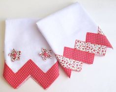 Pretty Pink Set of Tea Towels Dish Towels, Hand Towels, Tea Towels, Fabric Crafts, Sewing Crafts, Sewing Projects, Quilt Border, Mug Rugs, Hot Pads