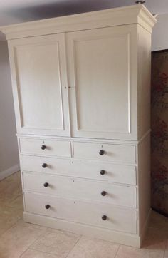 Lovely Hand Painted Linen press wardrobe cupboard chest of drawers Annie Sloan