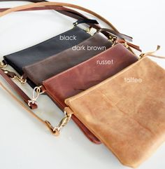 Small Leather crossbody bag with a simple minimalist design. Beautiful soft cowhide leather purse great for gift giving. ***This bag is hand made to order. Please allow up to 2 weeks production time*** Please note that standard shipping on this item is the cheapest rate possible but does