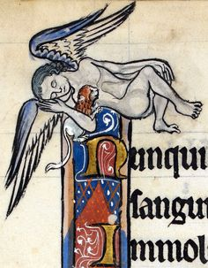 sleeping angel with pet lion  'The Rutland Psalter', England ca. 1260  British Library, Add 62925, fol. 53v