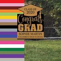 Do you know a 2020 grad who needs celebrated? Start with these graduation yard signs! Featuring a mortarboard graduation cap and the graduation year, the yard . Graduation Yard Signs, Graduation Year, Graduation Party Supplies, Graduation Celebration, Flower Bulletin Boards, Grad Party Decorations, Class Of 2020, Oriental Trading, Personalized Signs