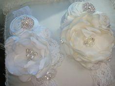Ivory or White Rosette Headband Infant Headband by lepetitejardin