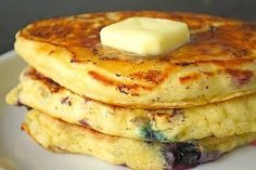 Blueberry Buttermilk Pancakes. These look pretty rich with buttermilk and sour cream. I'll need to half the recipe or I'll be stuck with a heapin' load of cakes.