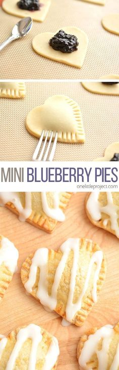 These heart shaped mini blueberry pies are SO EASY to make and they taste amaaaaazing! They use jam as the filling and you can even use store bought pie crust! Find ideas for your next dessert recipes! We got the best desserts from no bake, chocolate, app Mini Desserts, Just Desserts, Delicious Desserts, Dessert Recipes, Yummy Food, Homemade Desserts, Christmas Desserts, Cookie Recipes, Dessert Tarts
