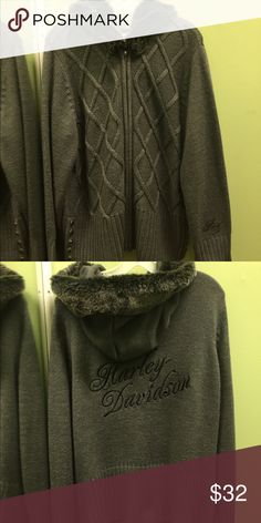 Harley Davidson zip sweater with hood Harley Davidson Zip Sweater with hood & fur trim on hood. Grey size 2X, great condition Harley-Davidson Sweaters