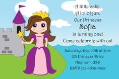 Princess Custom Birthday Party Invitation or thank you cards!