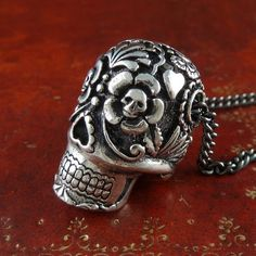 Large Sugar Skull Necklace Antique Silver by Lost Apostle