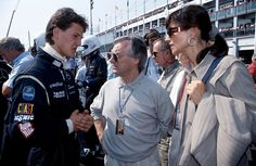Michael Schumacher meeting Ecclestone in September 1991 at a sportscar race at Magny-Cours, France (Ecclestone's then-wife Slavica on the right)