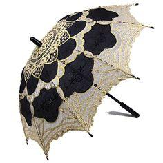 Battenburg Lace Parasol Black and Gold by Janny Dangerous