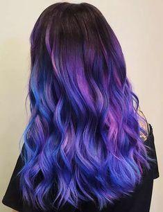 Purple Hair Streaks, Purple Hair Highlights, Dark Purple Hair, Dyed Hair Purple, Hair Color Purple, Hair Color For Black Hair, Purple Ombre, Green Hair, Ombre Hair Rainbow