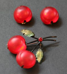 Vintage Antique Made in Austria Marked Glass Cherries Pin & Earrings