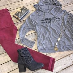 """""""Raised on it hoodie- $36.99 (S-L) Maroon skinnies- $68.99 (25-27,32) Consuela wallet- $125.99 G-Spinelli necklace- $200 Free people booties- $198 (6, 6.5, 7.5, 8.5, 9, 9.5) We ship! Call to order! 903.322.4316"""" Photo taken by @daviscountrystore on Instagram, pinned via the InstaPin iOS App! http://www.instapinapp.com (01/06/2016)"""