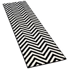 Black & White Chevron Rug - 2′9″ × 10′ ($199) ❤ liked on Polyvore featuring home, rugs, black and white chevron rug, black white rug, black and white area rugs, black white area rug and black and white zig zag rug
