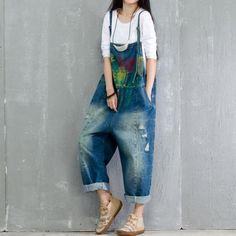 Buy Fashion Artistic Print Denim Overalls Ripped Jumpsuits in Overalls online shop, Morimiss offers Overalls to make you feel comfortable Work Overalls, Overalls Women, Denim Overalls, Dungarees, Denim Pants, Balloon Pants, Plus Size Romper, Denim Romper, Printed Denim
