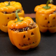Looking for the perfect thing to eat for Halloween dinner? Look no further! You've got to try these Pumpkin Patch Peppers that look like little pumpkins!