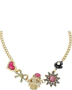 BETSEYS BEST SKULL HEARTS NECKLACE MULTI accessories jewelry necklaces fashion