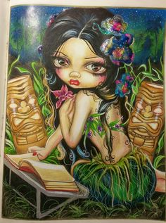 """Amara and the Book"" from original artist -  Jasmine Becket-Griffiths' colouring book.  Colourist: Alta Steyn"