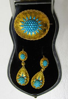 Turquoise & Gold Jewelry Suite, ca. 1860 | In the Swan's Shadow