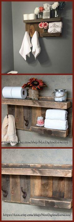 Love this bathroom shelf.  Would look GREAT in my bathroom.  #bathroom #country #rustic #ad #wood #shelf