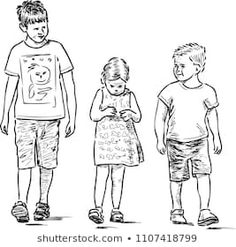 Sketch of the small siblings going for a walk Human Figure Sketches, Human Sketch, Human Drawing, Figure Sketching, Figure Drawing, Drawing Reference, Pencil Art Drawings, Drawing Sketches, Object Drawing
