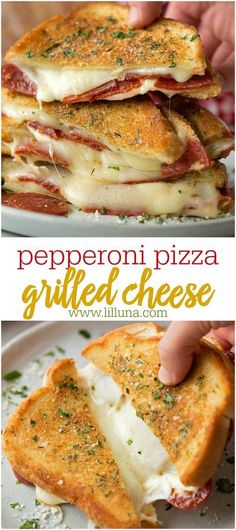 Pepperoni Pizza Grilled CheeseTake your favorite grilled cheese sandwich and stuff it turn it into a pepperoni pizza! This fun twist on a classic is stuffed with mozzarella, pepperoni and sandwiched between two pieces of buttery garlic toast - pizza Best Sandwich Recipes, Lunch Recipes, Easy Dinner Recipes, Easy Meals, Healthy Recipes, Easy Recipes, Grill Cheese Sandwich Recipes, Recipes For Two, Grilled Dinner Ideas