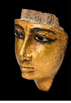 Death on the Nile: Uncovering the afterlife of ancient Egypt | Fritzwilliam Museum | Face from coffin, with eyes and eyebrows inlaid, gilded (1186-1069 BC), Twentieth Dynasty, New Kingdom, Egyptian