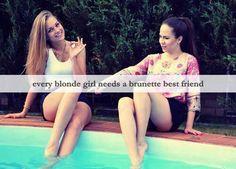Blonde and brunette