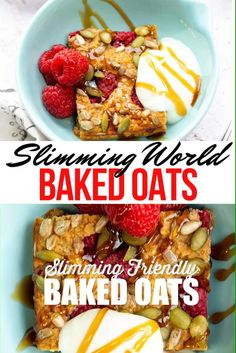 Baked Oats is the perfect healthy breakfast recipe! Easy to make ahead, delicious warm or cold and Slimming World friendly. Make this baked oatmeal your own by adding your favourite fruit, nuts and seeds Homemade Nutella Recipes, Healthy Oatmeal Recipes, Easy Healthy Breakfast, Healthy Baking, Breakfast Recipes, Dinner Recipes, Baked Oats Slimming World, Slimming World Desserts, Slimming World Breakfast