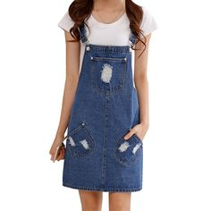 >>>This DealsSummer style 2016 denim dress Casual loose overalls dresses preppy style Big pocket hole decorate Plus size XXL M223-in Dresses from Women's Clothing