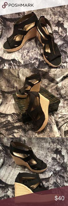 "NWT NIB Black Linen Espadrille Platform Wedges NWT NIB Black Linen Platform Espadrille Wedges with front facing zipper. Toe platform = 1 1/4"" Heel = 4 1/4"" Moda International Shoes"