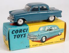 Lot 1731 - Corgi Toys, 352 RAF Standard Vanguard staff car, blue body with silver detailed grille, smooth